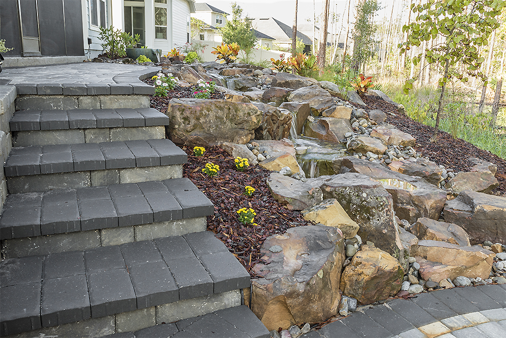 Paver Stairs & Pondless Waterfalls
